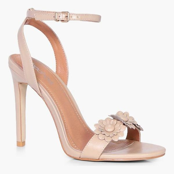 BOOHOO Erin Flower Applique 2 Part Heel - We'll make sure your shoes keep you one stylish step ahead...