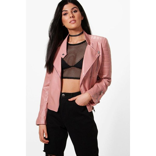 BOOHOO Erin Quilted Sleeve Biker Jacket - Wrap up in the latest coats and jackets and get out-there...