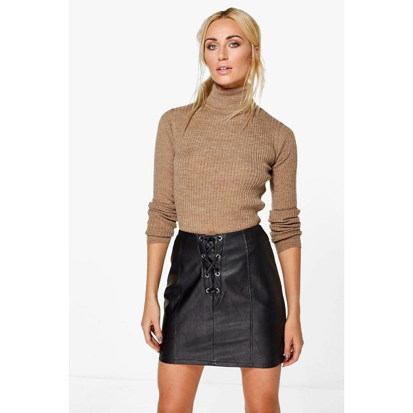 BOOHOO Erin Rib Knit Turtleneck Jumper - Nail new season knitwear in the jumpers and cardigans that...
