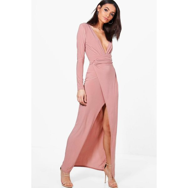 BOOHOO Erin Slinky Wrap Detail Maxi Dress - Dresses are the most-wanted wardrobe item for day-to-night...