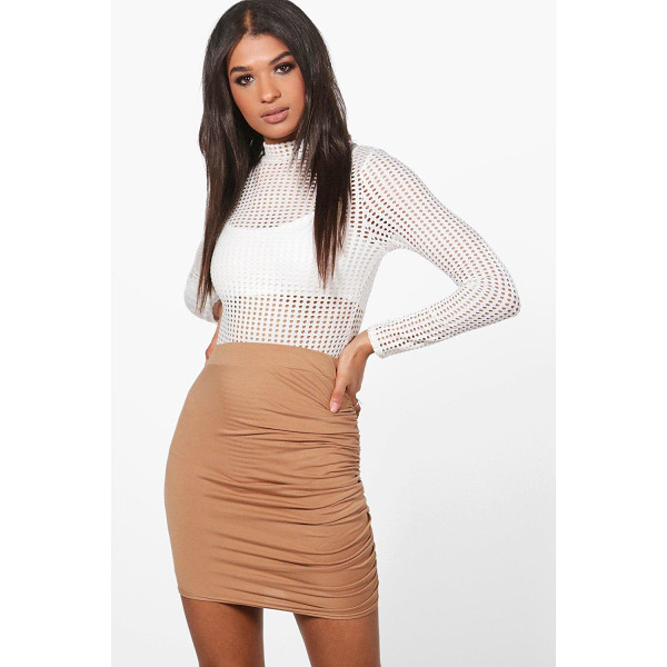 BOOHOO Esme Rouched Side Jersey Mini Skirt - Esme Rouched Side Jersey Mini Skirt dusky pink