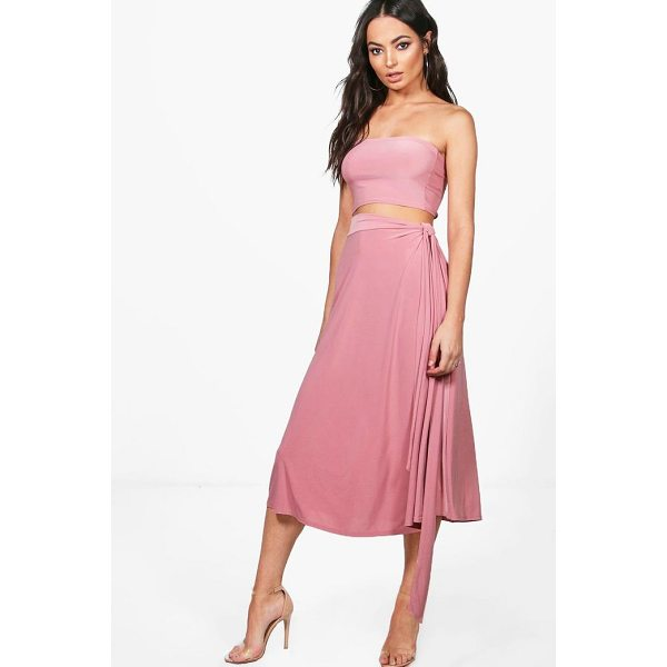 BOOHOO Esme Slinky Bandeau & Tie Midi Skirt Co-Ord - Co-ordinates are the quick way to quirky this seasonMake...