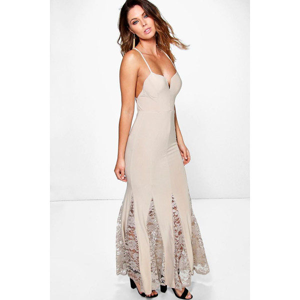 BOOHOO Esme Slinky Plunge Neck Lace Hem Insert Maxi Dress - Get dance floor-ready in an entrance-making evening...