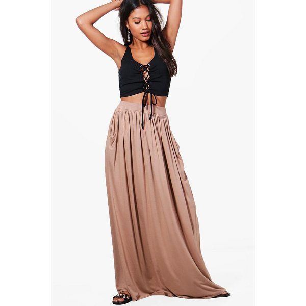 BOOHOO Ettie Pocket Front Floor Sweeping Jersey Maxi Skirt - Skirts are the statement separate in every wardrobe This...