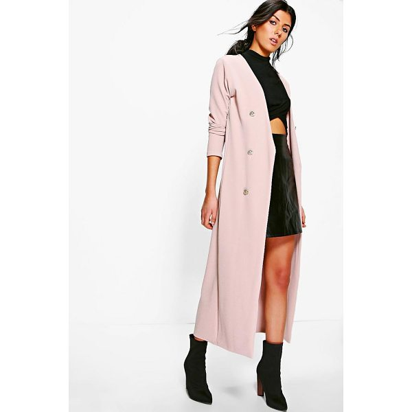 BOOHOO Eva Button Front Longline Duster Jacket - Wrap up in the latest coats and jackets and get out-there...