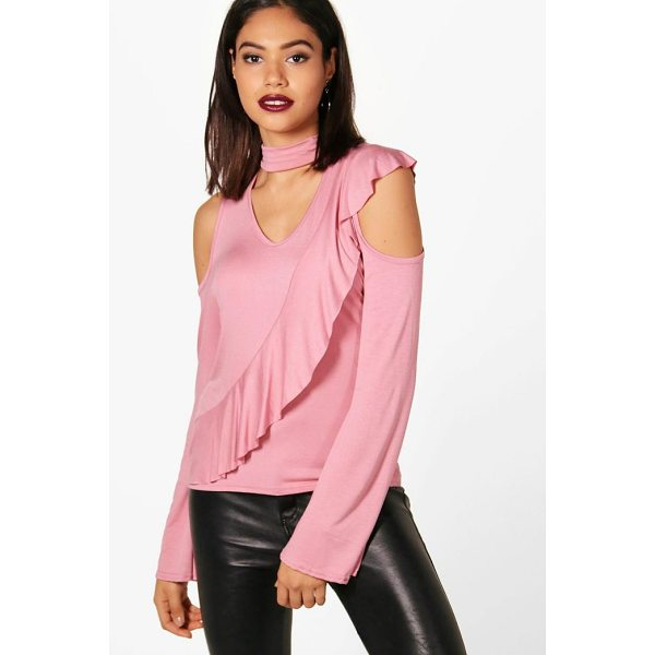 BOOHOO Eva Cold Shoulder Ruffle Sleeve Choker Top - Steal the style top spot in a statement separate from the...