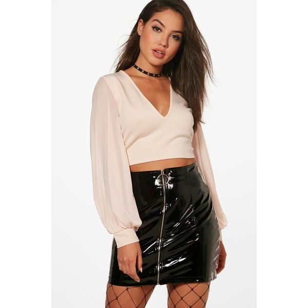 BOOHOO Eva Mesh Balloon Sleeve Scuba Crop - Steal the style top spot in a statement separate from the...
