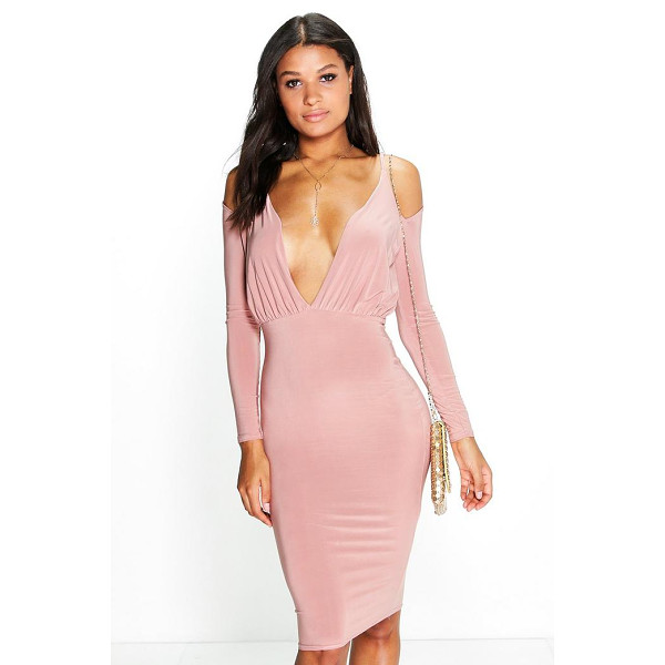 BOOHOO Eva Open Shoulder Midi Bodycon Dress - Get dance floor-ready in an entrance-making evening...