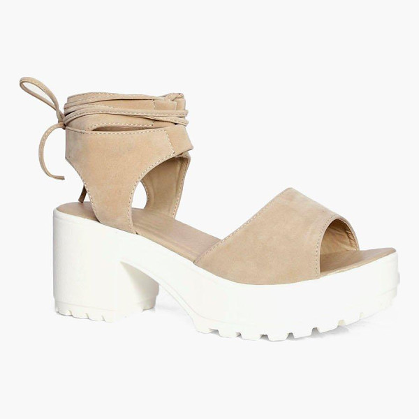 BOOHOO Eva Peeptoe Wrap Over Cleated Sandals - A classic wardrobe staple, pumps are a must-have on...