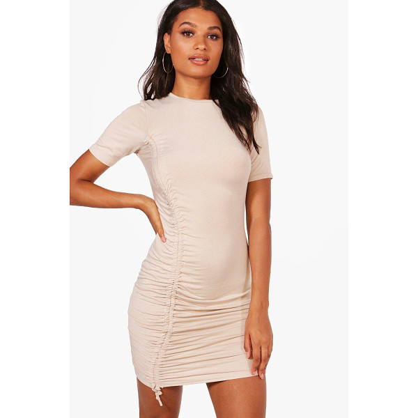 BOOHOO Eva Ruched Tie Cap Sleeve Bodycon Dress - Dresses are the most-wanted wardrobe item for day-to-night...