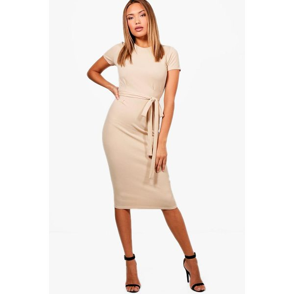 BOOHOO Eva Tie Waist Fitted Dress - Dresses are the most-wanted wardrobe item for day-to-night...