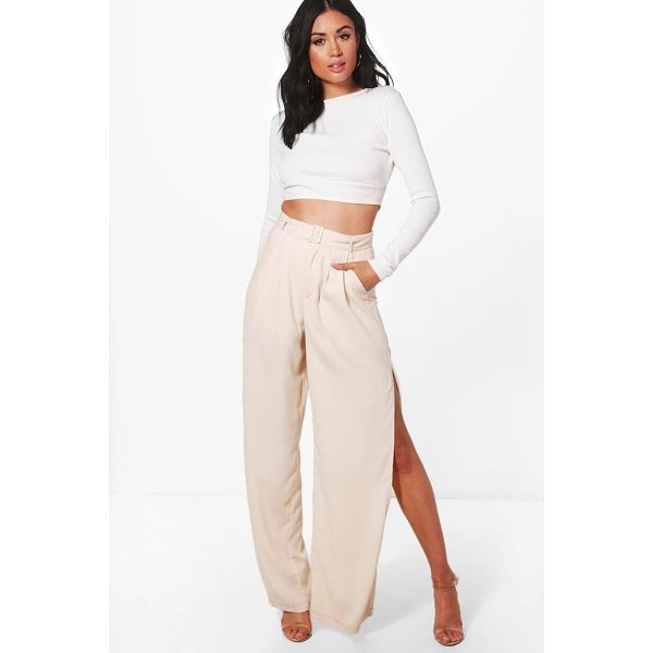 BOOHOO Eve Belted Tailored Wide Leg Split Side Trousers - Trousers are a more sophisticated alternative to...