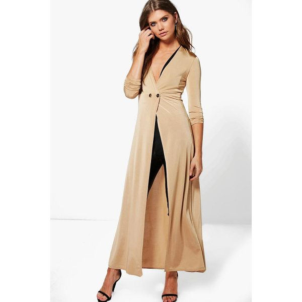 BOOHOO Evelyn Double Breasted Slinky Maxi Duster - Wrap up in the latest coats and jackets and get out-there...