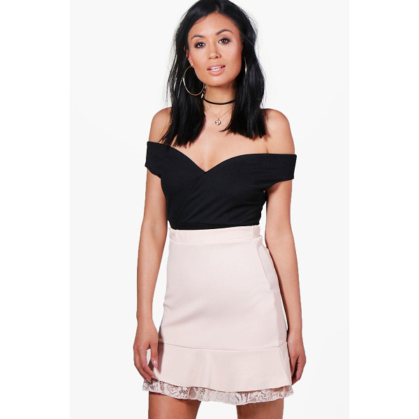 BOOHOO Evie Drop Hem Lace Trim Pastel Mini Skirt - Skirts are the statement separate in every wardrobe This...