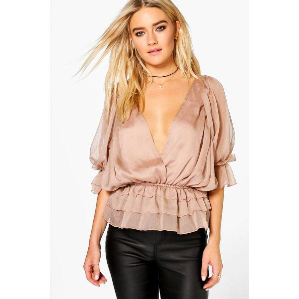 BOOHOO Evie Ruffle Detail Wrap Over Blouse - Steal the style top spot in a statement separate from the...