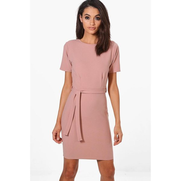 BOOHOO Evy Pleat Front Belted Tailored Dress - Dresses are the most-wanted wardrobe item for day-to-night...
