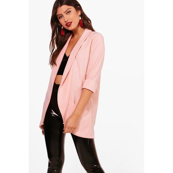 BOOHOO Faith Shawl Collar Woven Crepe Blazer - Wrap up in the latest coats and jackets and get out-there...