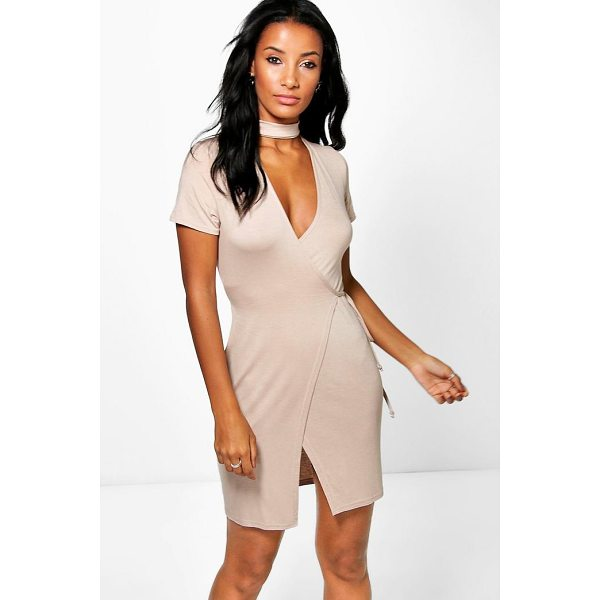 BOOHOO Farah Wrap Choker Detail Mini Dress - Dresses are the most-wanted wardrobe item for day-to-night...