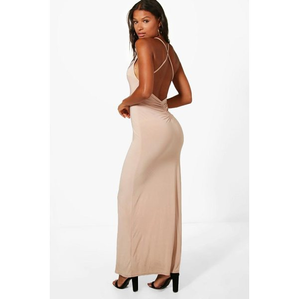 BOOHOO Fay Slinky Open Back Ruched Maxi Dress - Dresses are the most-wanted wardrobe item for day-to-night...
