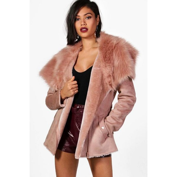BOOHOO Faye Boutique Faux Fur Collar Belted Jacket - Rock some seriously cool vibes on the day-to-day with a...