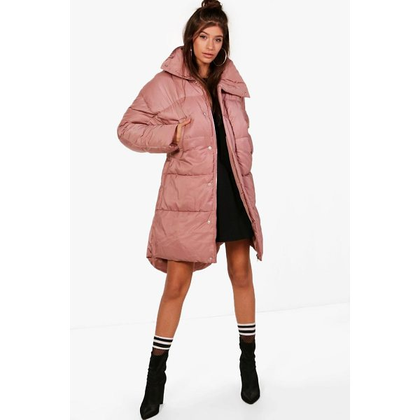 BOOHOO Faye Boutique Funnel Neck Padded Jacket - Wrap up in the latest coats and jackets and get out-there...
