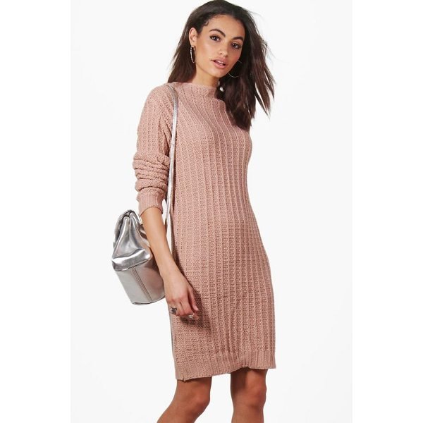 BOOHOO Faye Funnel Neck Knitted Dress - Nail new season knitwear in the jumpers and cardigans that...