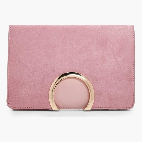 BOOHOO Faye Metal Circle Suedette And PU Mix Clutch - Add attitude with accessories for those fashion-forward...
