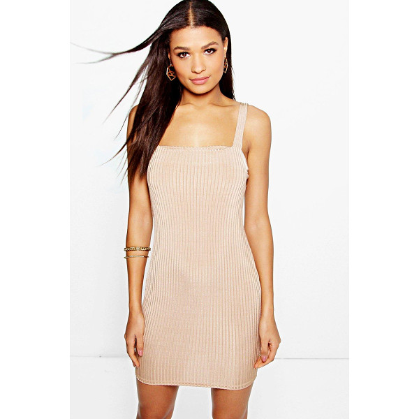 BOOHOO Fi Wide Strap Square Neck Ribbed Bodycon Dress - Get dance floor-ready in an entrance-making evening...