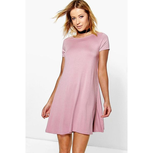 BOOHOO Flo Basic Scoop Neck Cap Sleeve Swing Dress - Dresses are the most-wanted wardrobe item for day-to-night...