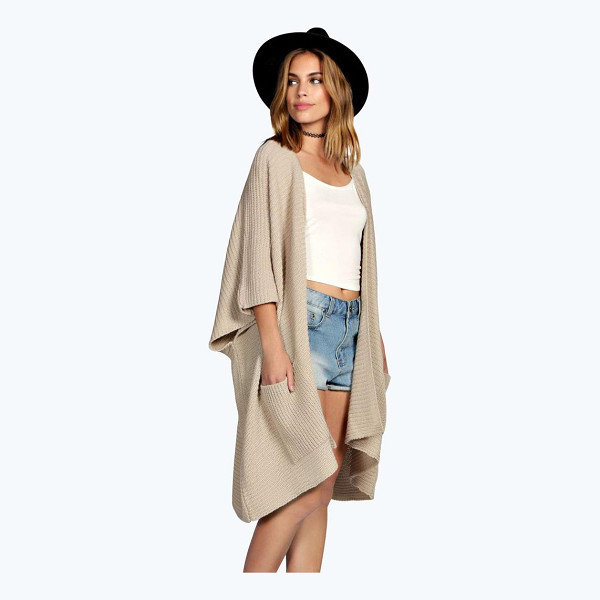 BOOHOO Flora Pocket Cape Cardigan - Nail new season knitwear in the jumpers and cardigans that...