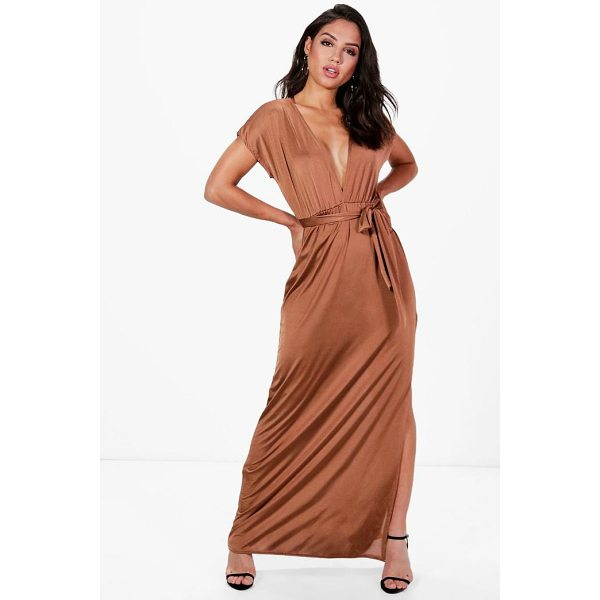 BOOHOO Flossie Deep Plunge Tie Waist Maxi Dress - Dresses are the most-wanted wardrobe item for day-to-night...