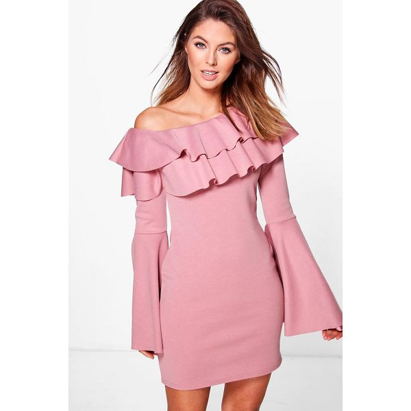 BOOHOO Fran Off One Shoulder Frill Bodycon Dress - Dresses are the most-wanted wardrobe item for day-to-night...