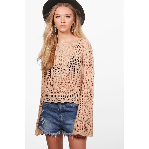 BOOHOO Francesca Crochet Bell Sleeve Jumper - Nail new season knitwear in the jumpers and cardigans that...