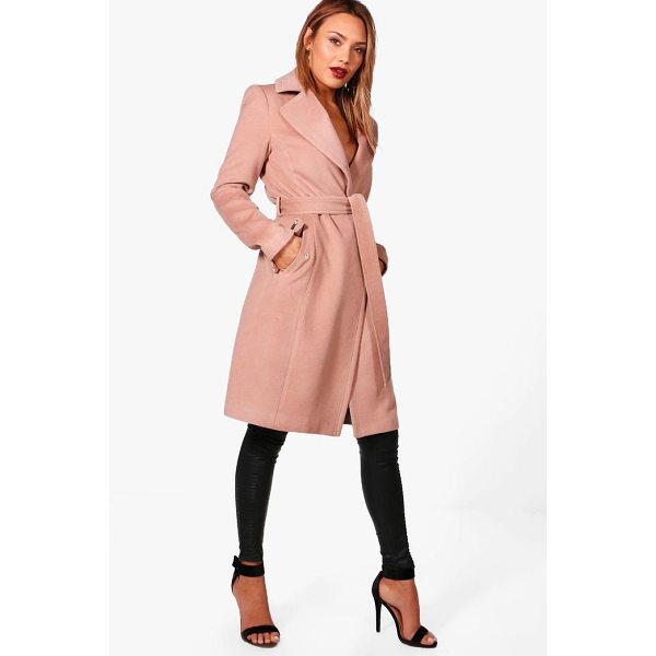BOOHOO Frankie Belted Wool Look Coat With Zip Detail - Wrap up warm in the latest wool look outerwear. A stylish...