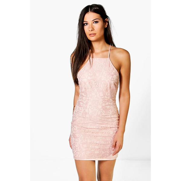 BOOHOO Frey All Over Lace Cross Back Bodycon Dress - Get dance floor-ready in an entrance-making evening...