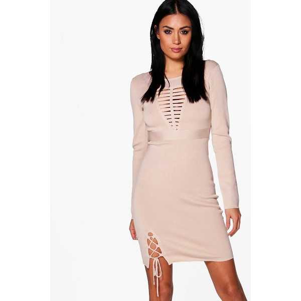 BOOHOO Frey Caged Detail Knitted Dress - Dresses are the most-wanted wardrobe item for day-to-night...