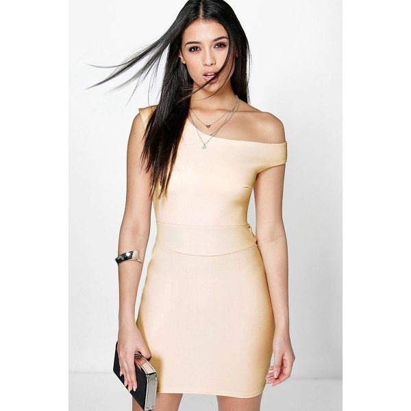 BOOHOO Frey Off The Shoulder Tie Waist Bodycon Dress - Dresses are the most-wanted wardrobe item for day-to-night...