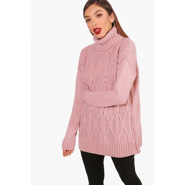 BOOHOO Freya Brushed Cable Knit Oversized Roll Neck - Nail new season knitwear in the jumpers and cardigans that...
