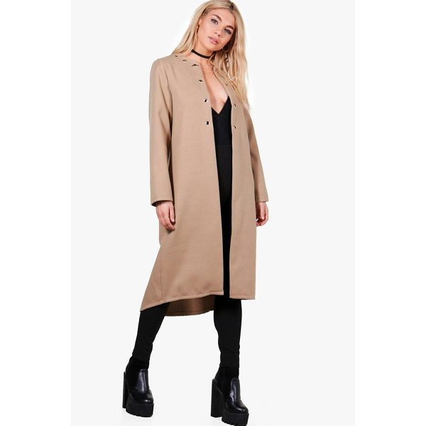 BOOHOO Freya Eyelet Detail Wool Look Coat - Wrap up in the latest coats and jackets and get out-there...