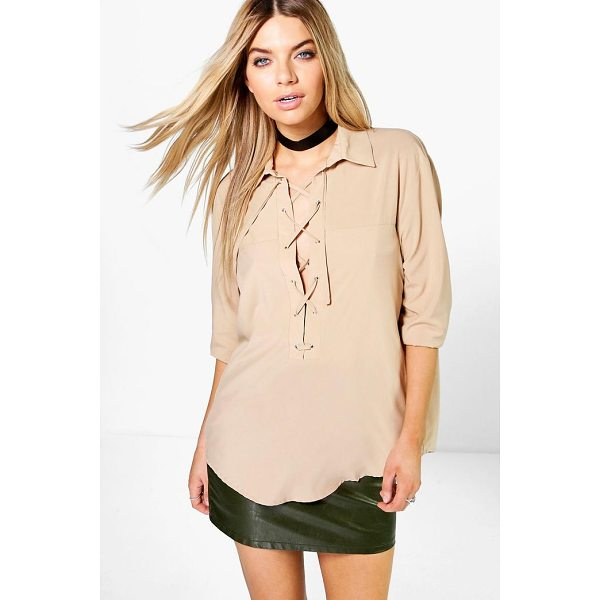 boohoo freya lace up shirt steal the style top spot in a statement separate from