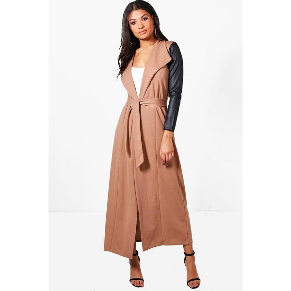 BOOHOO Freya Maxi PU Sleeve Belted Duster - Wrap up in the latest coats and jackets and get out-there...