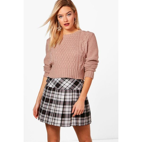 BOOHOO Freya Nep Yarn Cable Crop Jumper - Nail new season knitwear in the jumpers and cardigans that...