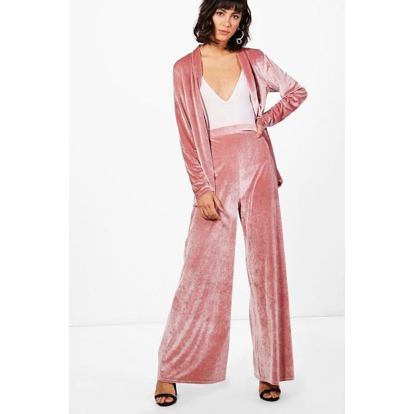 BOOHOO Freya Velvet Wide Leg Trouser - Trousers are a more sophisticated alternative to...