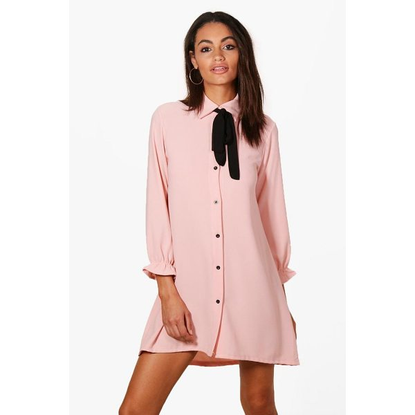 BOOHOO Freya Woven Scarf Shirt Dress - Dresses are the most-wanted wardrobe item for day-to-night...