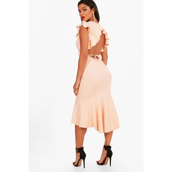 BOOHOO Frill Detailing Open Back Flute Hem Midi Dress - Dresses are the most-wanted wardrobe item for day-to-night...