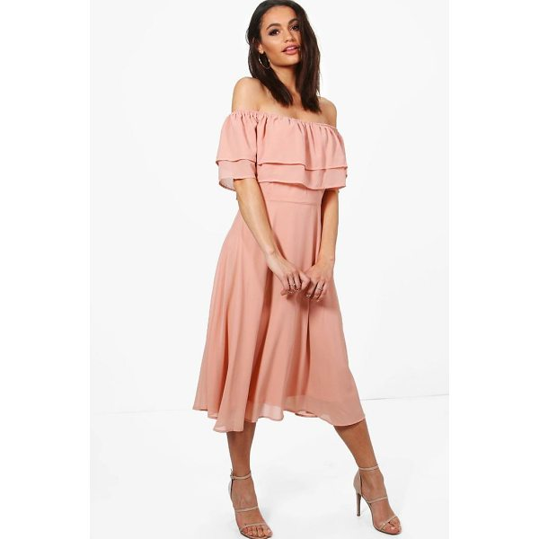 BOOHOO Galores Chiffon Ruffle Midi Skater Dress - Dresses are the most-wanted wardrobe item for day-to-night...