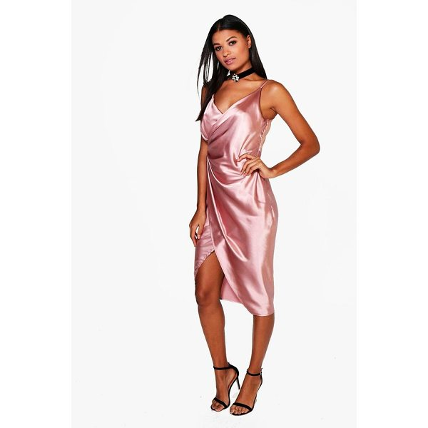 BOOHOO Gaynor Satin Wrap Strappy Midi Dress - Dresses are the most-wanted wardrobe item for day-to-night...