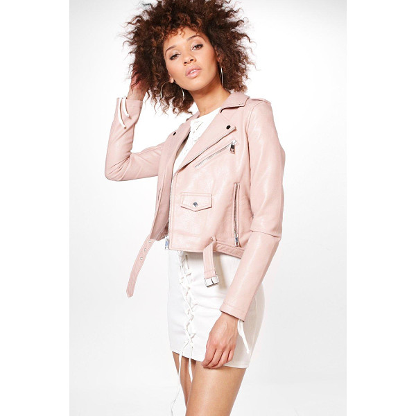 BOOHOO Gemma Boutique Belted Faux Leather Biker Jacket - Wrap up in the latest coats and jackets and get out-there...