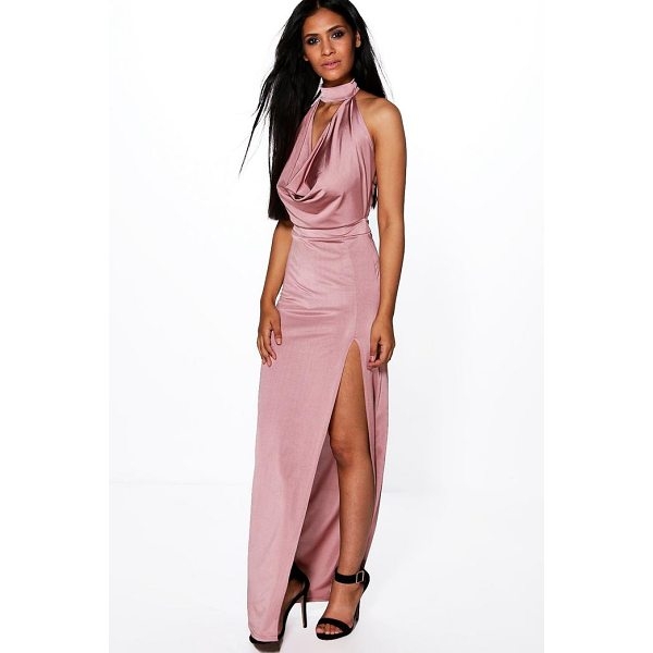 BOOHOO Gemma High Neck Slinky Cowl Maxi Dress - Dresses are the most-wanted wardrobe item for day-to-night...
