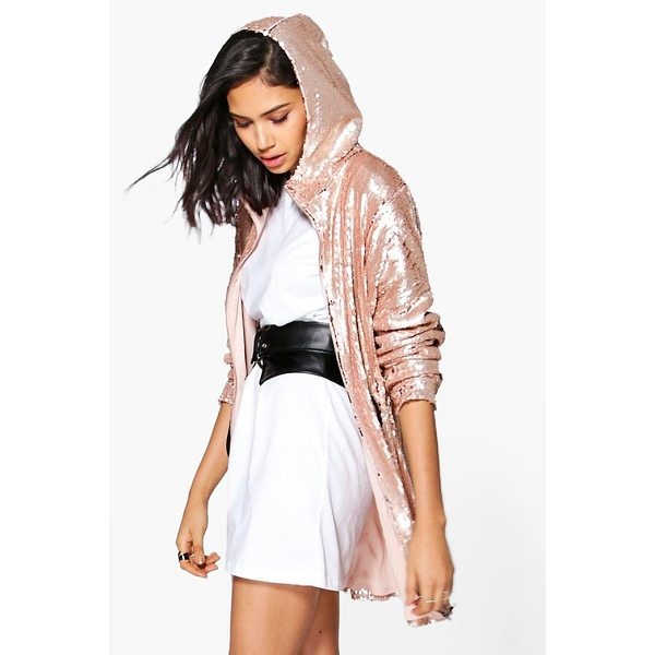 BOOHOO Georgia Boutique Sequin Hooded Parka - Wrap up in the latest coats and jackets and get out-there...